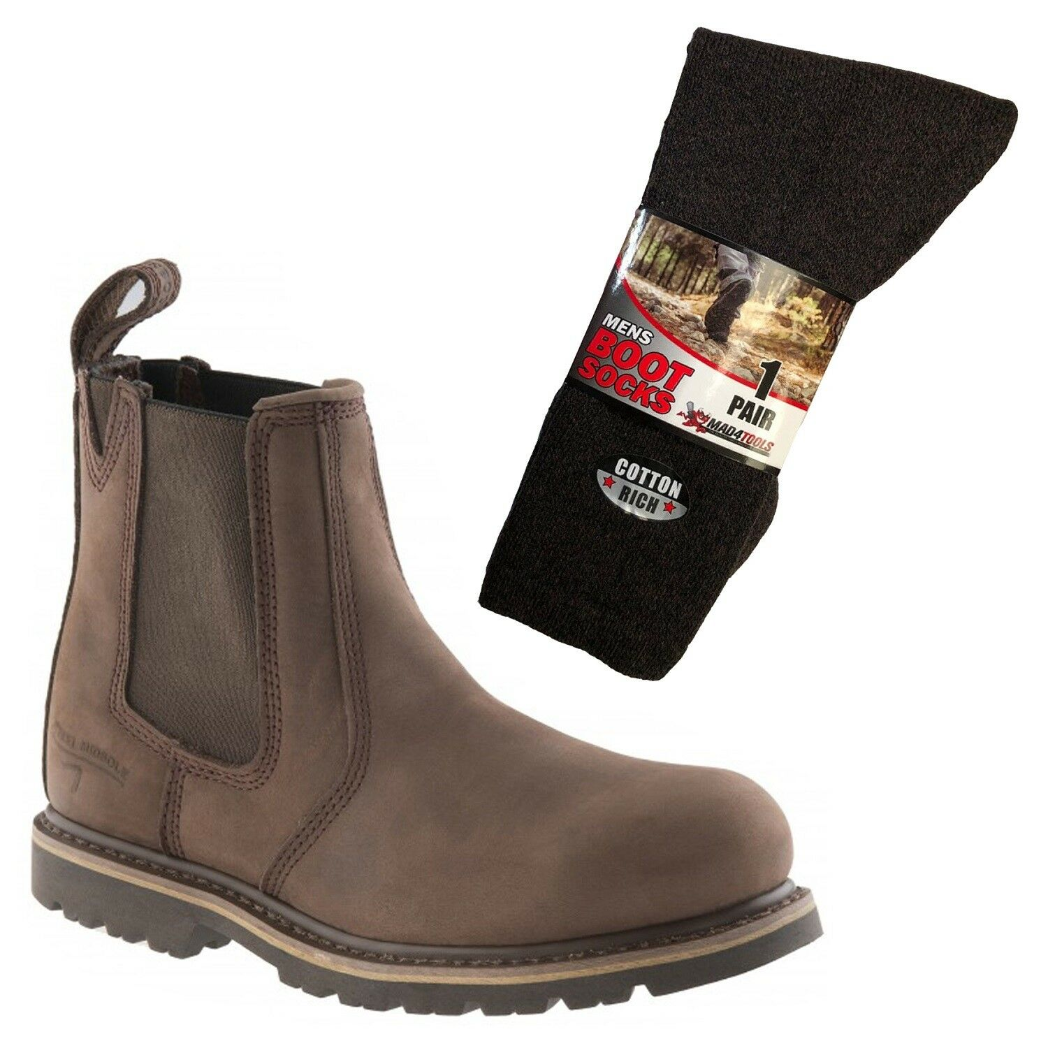 Buckler B1150SM Safety Dealer Boots Brown (Sizes 4-13) & 1 Pair of Socks