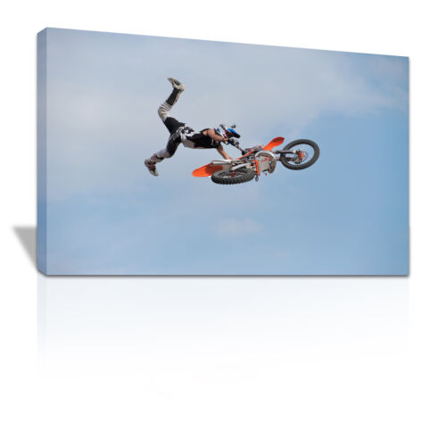 Motocross rider doing huge superman jump canvas print - C107
