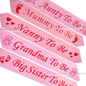 Image Is Loading PINK BABY SHOWER SASHES Mummy To Be Nanny