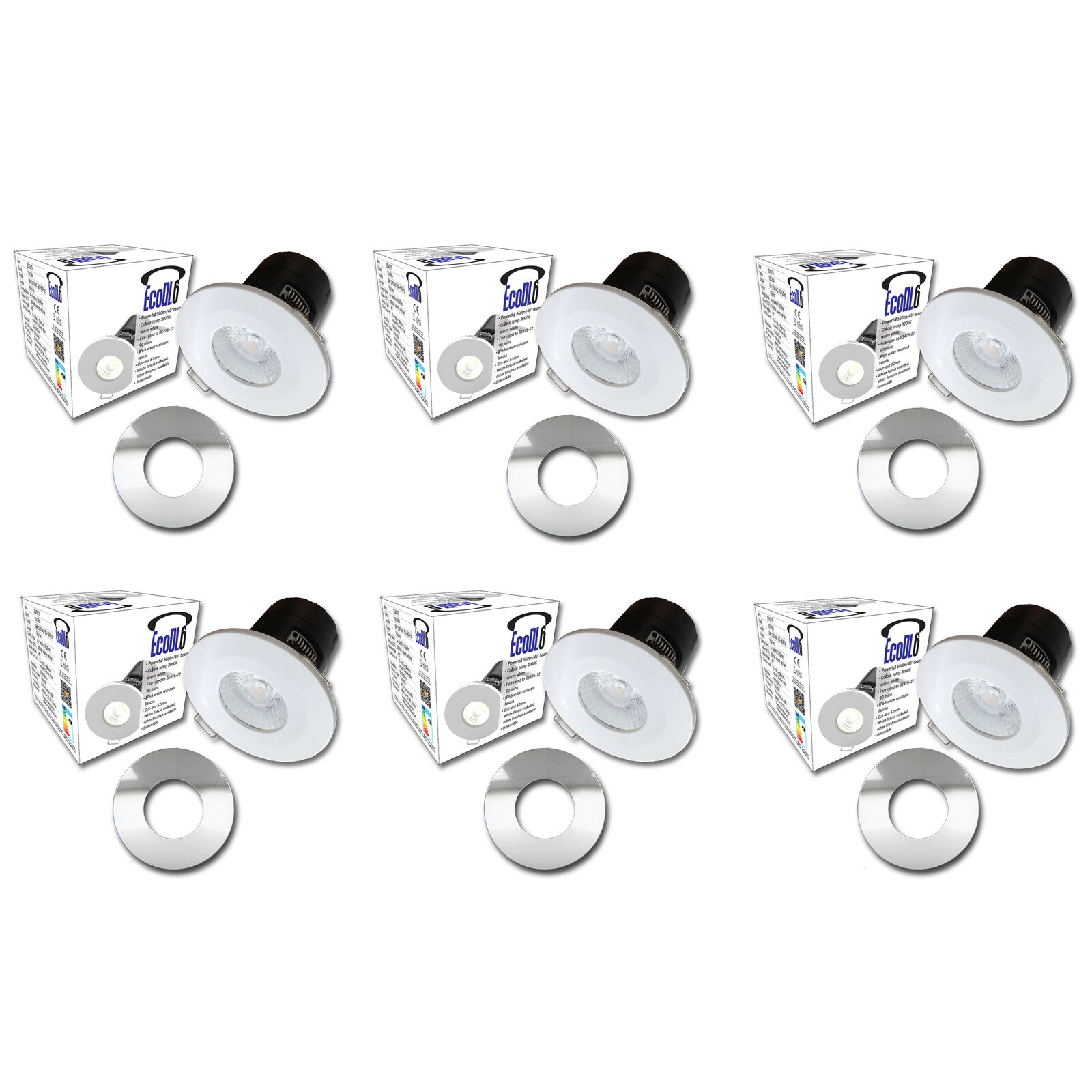 6x 6w LED Downlight 600Lm 4000k blancoo Frío Regulable 55mm Recorte Acero Fascia