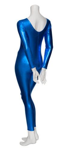 Royal Blue Shiny Metallic Dance Catsuit Unitard Katz Dancwear KDC017 SECONDS