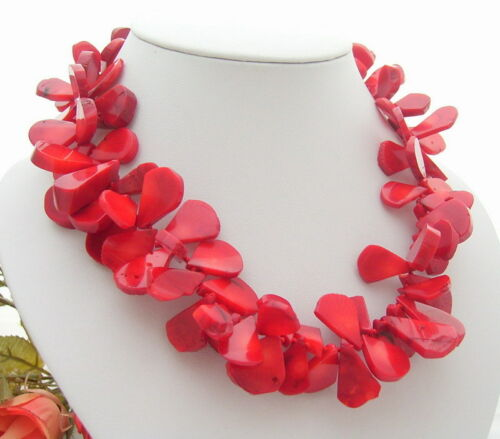 """18/"""" 21mm Red Coral Necklace"""