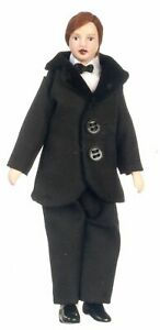 Dollhouse Miniature Grand Pa Pa or Grandfather Doll in Velvet Jacket and Slacks