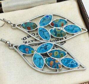 Vintage-Millefiori-Style-Aqua-Blue-Glass-Flower-Dangle-Pierced-Earrings
