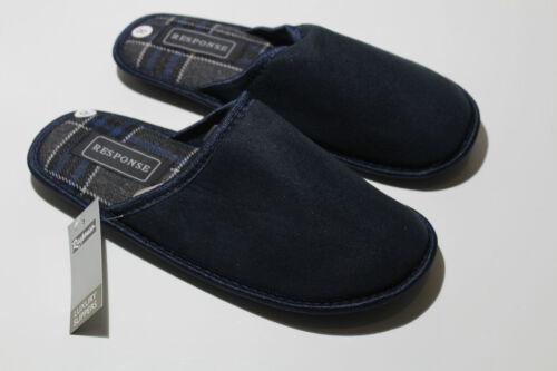 Mens Boys Winter Velvety Soft Warm Slippers Slip On Mules Navy UK Size 7-12