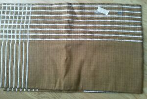 Vintage Brown Woven Tablecloth Western Germany White Stripe Inner Square 49 x 52