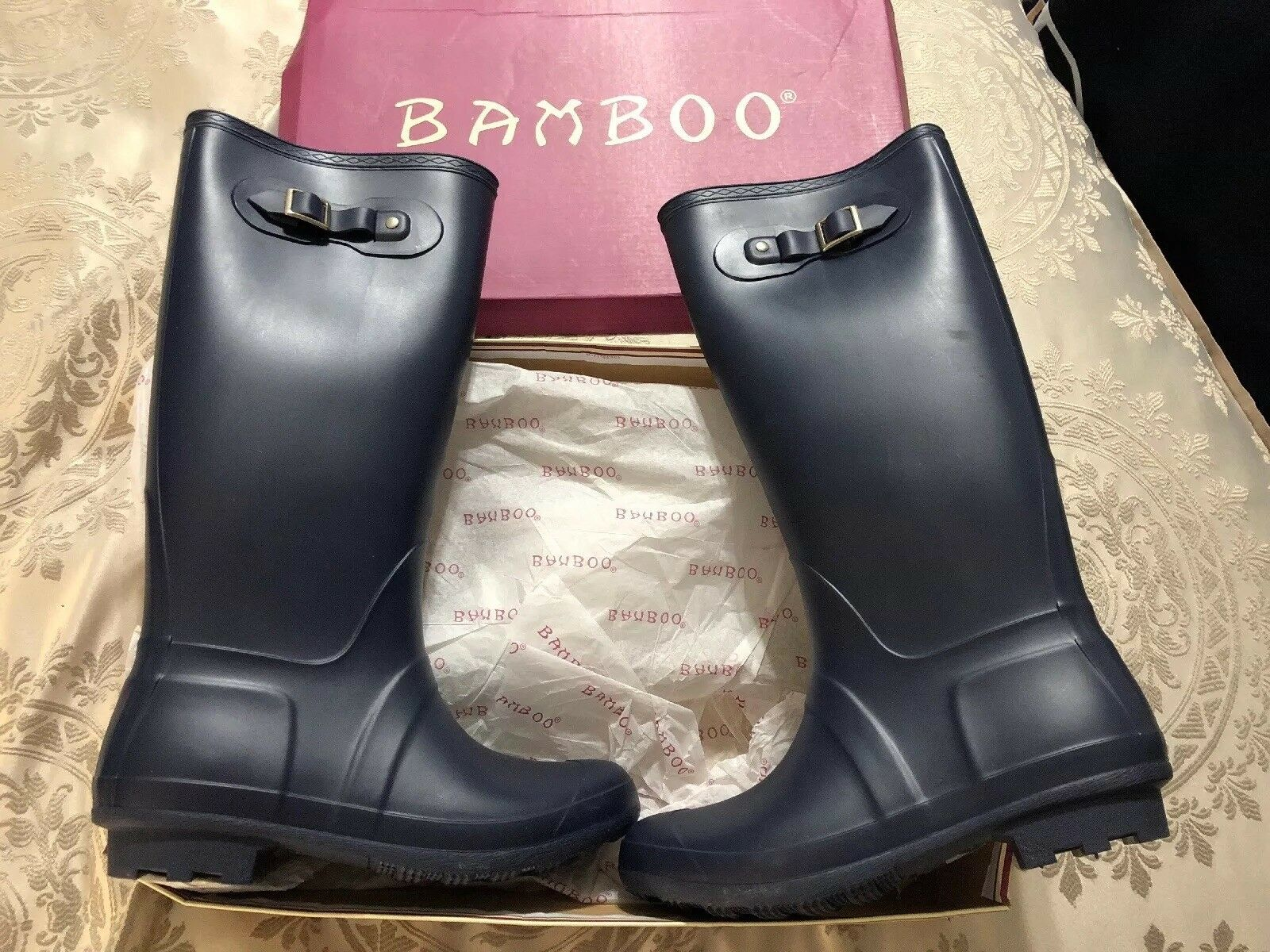 Bamboo Padinton 91 Rain Boots Women's Size 10 41 Navy bluee shoes New Snow Buckle