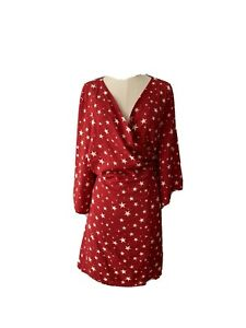 Atmos & Here Womens Plus Size Wrap Dress Size 24 Short Sleeves Flarred