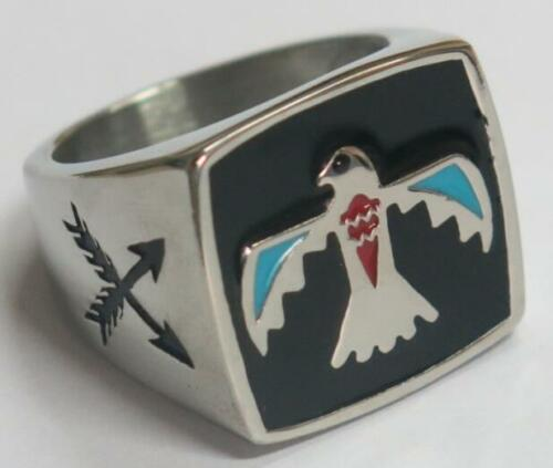 NATIVE PHONIEX SYMBOL STAINLESS STEEL RING size 9 silver metal S-511 fire bird