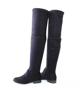 a01fad876b1 Details about Hot Trend Soft Stretch Micro Suede Over The Knee Thigh-High  Flat Boots Black