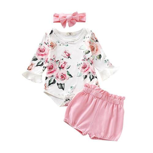 Infant Baby Girls Floral Outfits Long Sleeve Bodysuit Romper Shorts Clothes Set