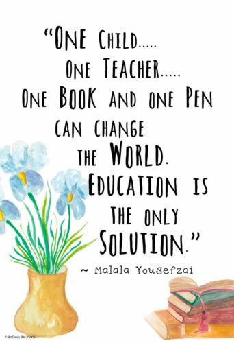 """MALALA Education is the Only Solution 13/""""×19/"""" Inspirational Motivational Poster"""