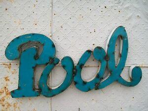Image Is Loading Rustic 3D Metal Pool Sign Trade Indoor