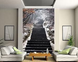 Details Sur Papier Peint Geant 2 Les Tapisserie Murale Deco Escalier Neige Ref 122