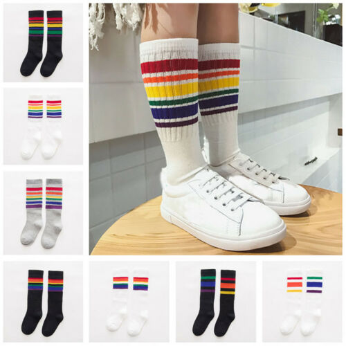 New Kids Knee High Socks For Girls Boys Football Stripes Cotton Sport Old School