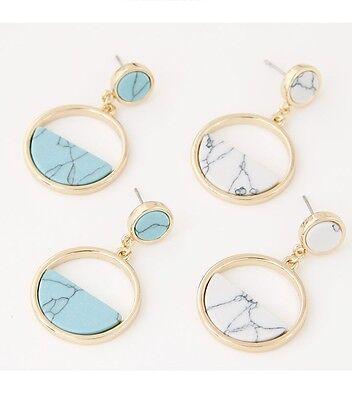 E15 Marble Effect Geometric Stud Earrings - Gift boxed