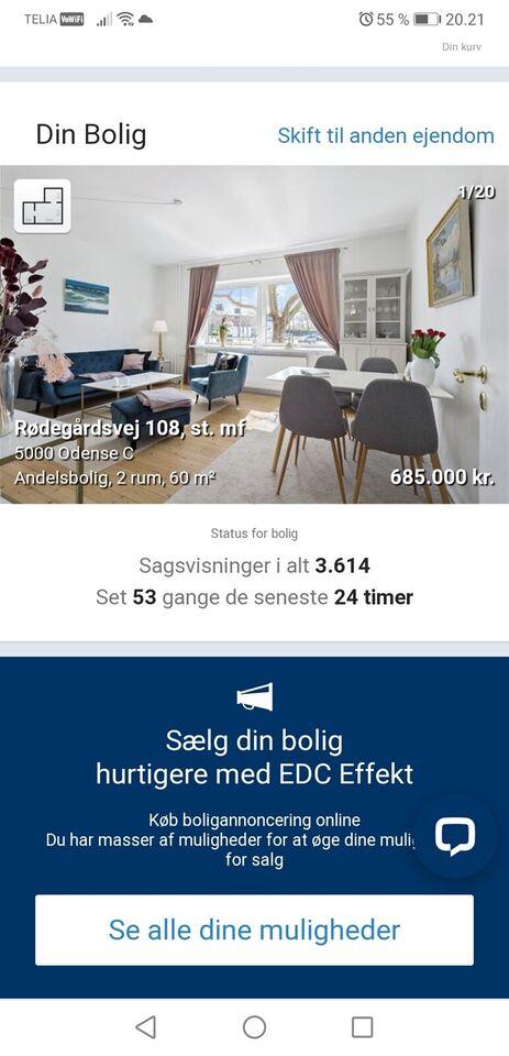5000 2 vær. andelslejlighed, 62 m2, Rødegårdsvej 108 St
