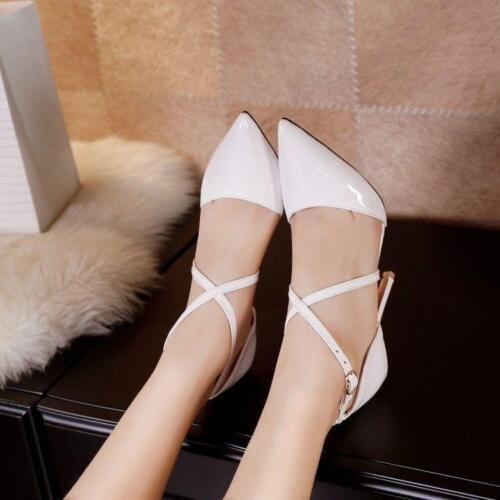 Élégant Femme Stilettos Talons Hauts Bout Pointu et Cross Strap Parti Chaussures plus Sz