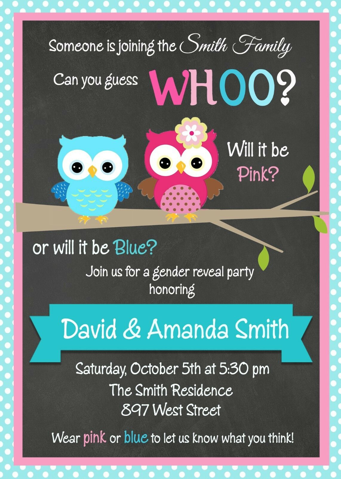 Owl, Gender Reveal, Boy or Girl, Baby Shower, Party, Invitation