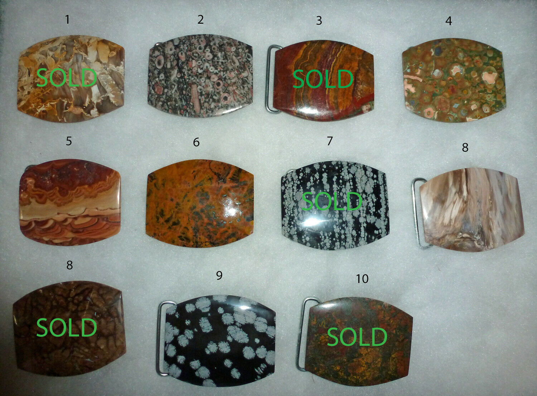 Handcrafted, Jasper, Agate Gemstone Belt Buckle polished natural stone- Pick 1