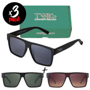 Tris occhiali da sole TWIG Pack CROWE [Premium] uomo/donna oversize rettangolari
