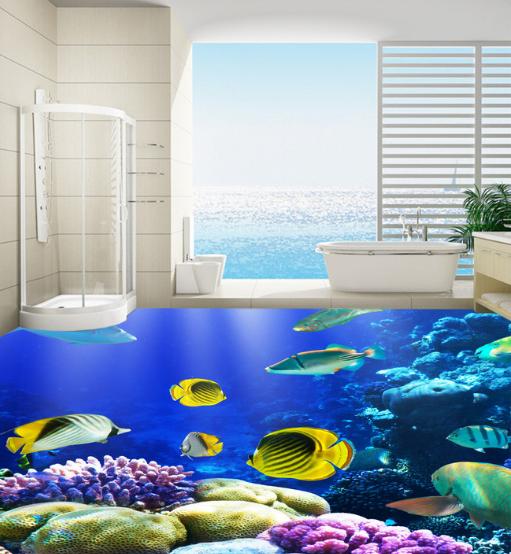 3D Sunshine Coral Fish 8 Floor WallPaper Murals Wall Print Decal AJ WALLPAPER US