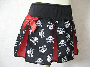 New Baby Girls Black White Purple  skulls spotted Check Tartan Skirt Gothic Gift