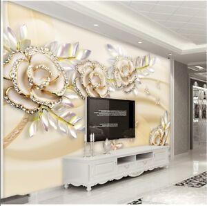 3D Luxury Gold Rose Art Wallpaper Mural Roll Bedroom Living Room