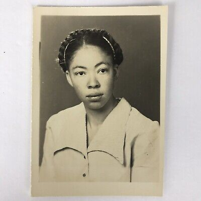 Vintage Black and White Photo African American Woman with Braid 2.5 x 3.5