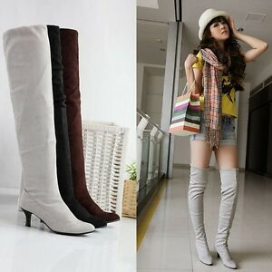 Womens Ladies Kitten Heel Sexy Over The Knee High Stretchy Boots ...