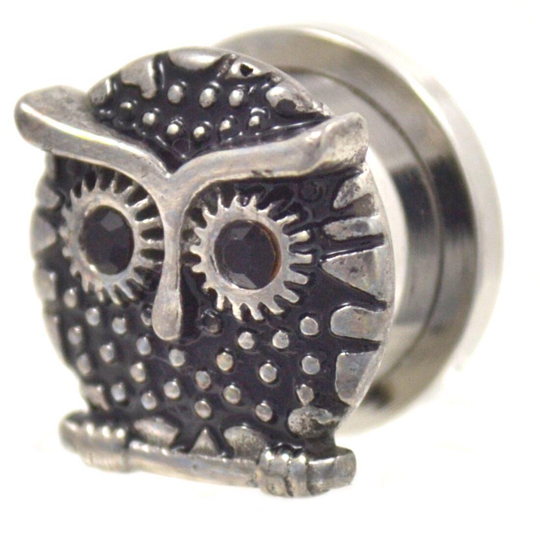 Pierced Owl Stainless Steel Bezel Set Clear Gem Screw Fit Plug Gauges Sold As Pair