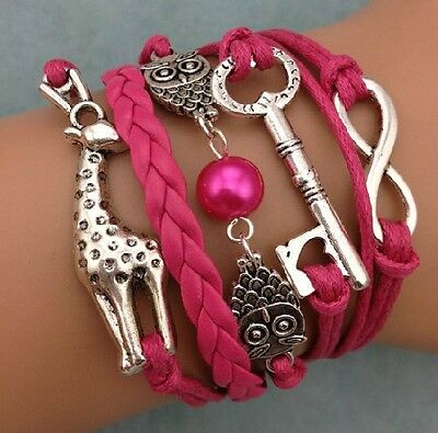 NEW Infinity Giraffe owl key Friendship Leather Charm Bracelet Silver Cute !!!!