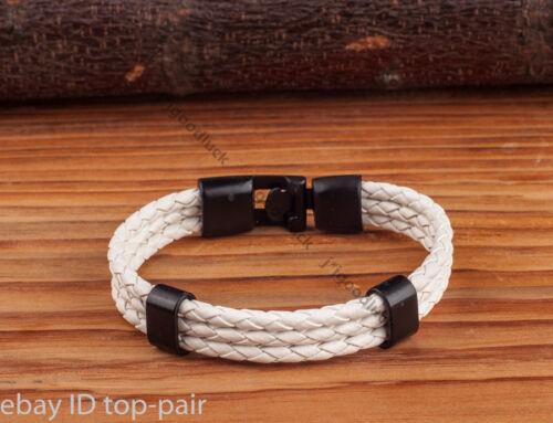 Moda para Hombre de Cuero Sintético Trenzado Cuerda Blanca Broche Brazalete Collar Negro
