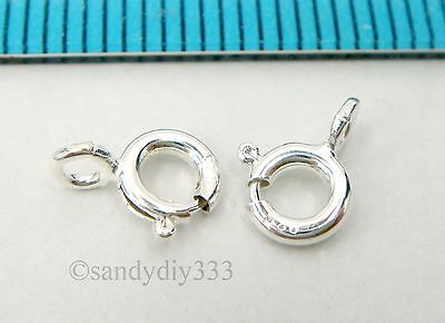 10x ITALIAN STERLING SILVER SPRING ROUND RING CLASP 5mm #2573