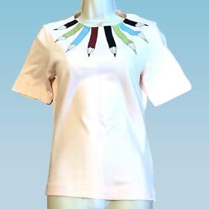 TED-Baker-Taglia-1-UK-8-Matita-Stampa-Top-Rosa-T-shirt-Tee-spessa-in-tessuto