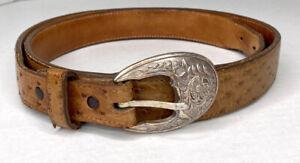 Montague-Boots-CO-Full-Quilt-Ostrich-Brown-Leather-Belt-Sz-40-Nocona-TX-Western