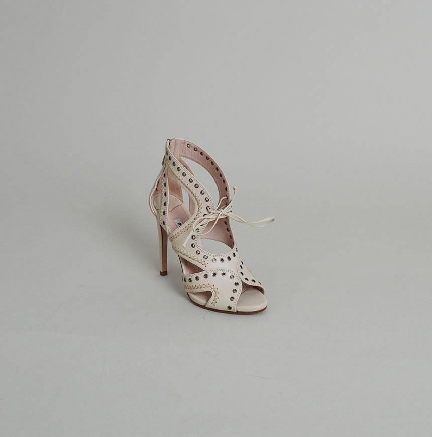 Miu Miu Ivory Leather Lace-Up Grommet Sandal Heels - Size 37.5