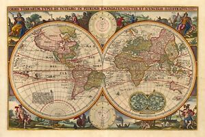 World Map Antique Vintage Reproduction Old Style Poster Print
