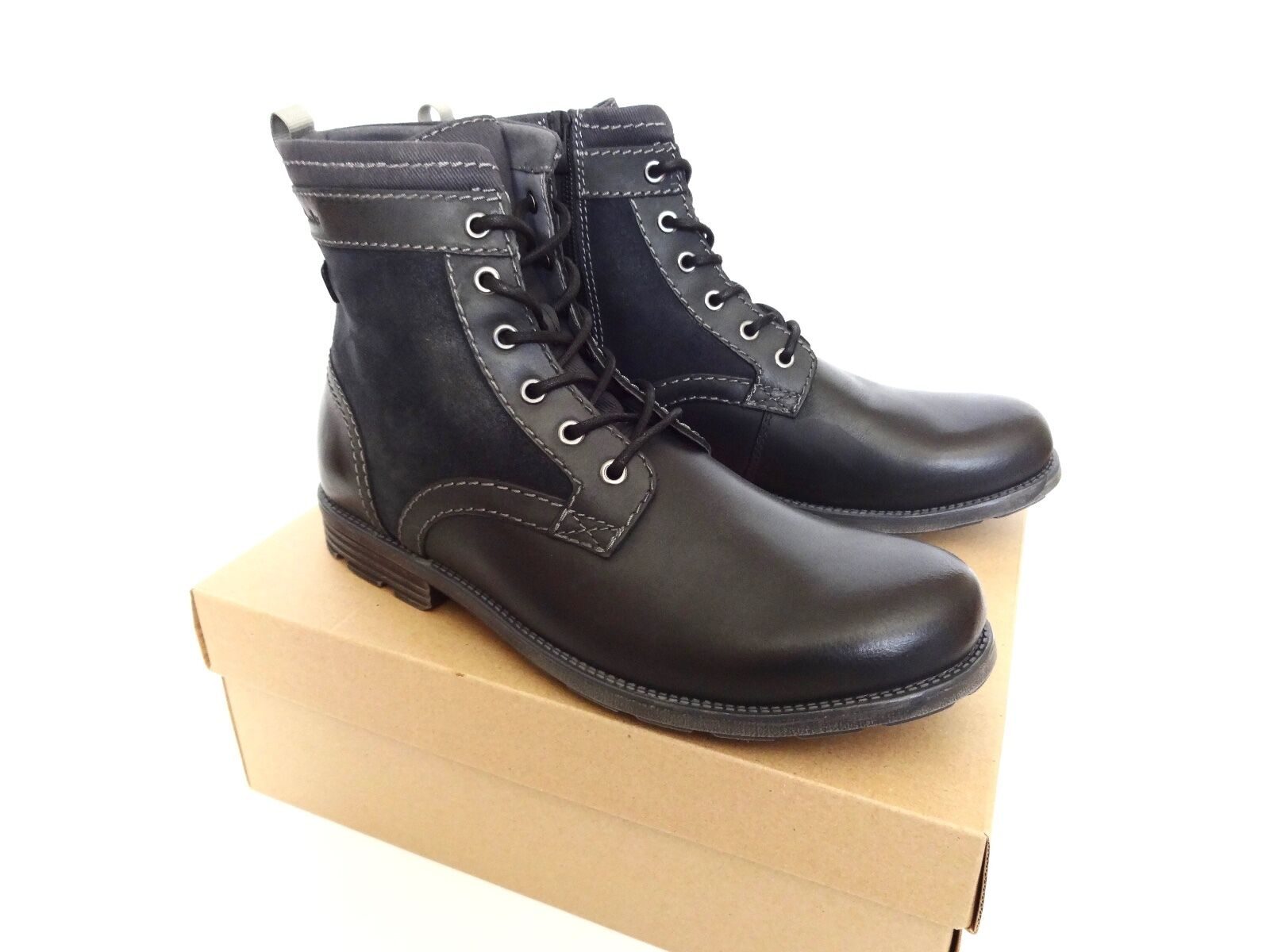 New Clarks Daria High Black Leather Lace Up Boots shoes size 13
