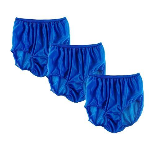 3Pcs Lot Wholesale Royal Blue Granny Briefs Panties Sheer Nylon Knicker Women