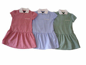 b36f9660cf1 Image is loading Girls-Gingham-School-Dress-Uniform-Red-Green-Or-