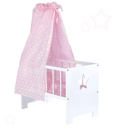Sun Puppenbett mit Himmel Sternchen aus Holz Weiß Himmelbett Bett Puppe Stern