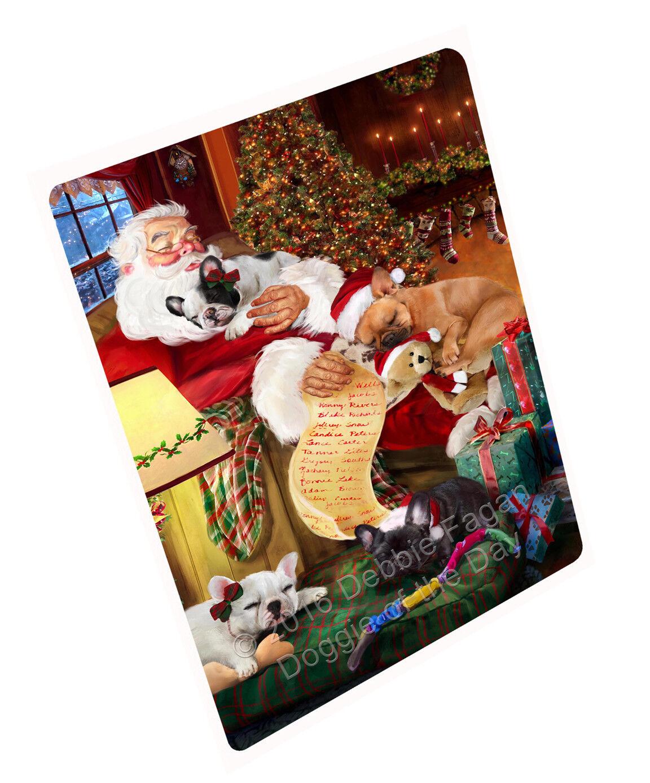 French BullHund Hund Sleeping with Santa Woven Throw Sherpa Fleece Blanket NWT