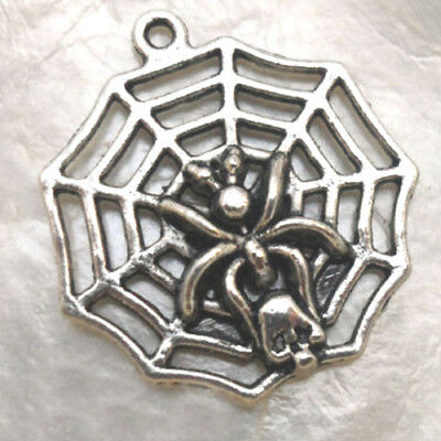 ARGENT du TIBET PETITE ARAIGNÉE 15 X 17 mm BRELOQUE HALLOWEEN