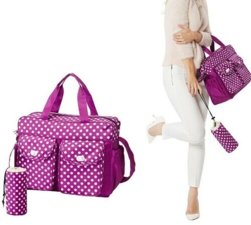 Bottle Holder 3pcs Baby Nappy Changing Diaper Bag Set 3 in1 Rug Bag Purple PB1