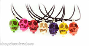 Dyed-Howlite-Skull-Pendant-Necklace-A67-Rubber-Cord-Day-of-Dead-FREE-GIFT-BOX