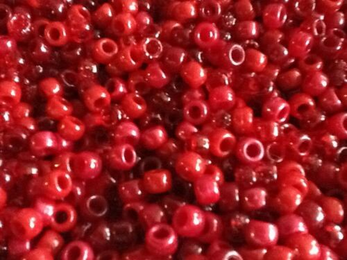 cheveux Brading 500 PB9M-RED 1000 ou 5000 mixte poney rouge perles 100 clips de tétine