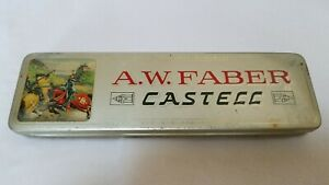 Vintage-A-W-Faber-Castell-9611-Ink-Pencil-Hinged-TIN-Germany-Castle-Men-Horses