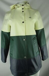 Lucky-Brand-Women-039-s-Green-and-White-Full-Zip-Snap-Up-Hooded-Jacket-S-FLAWED