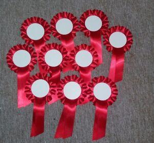 10 X Blank Centre Rosettes Rouge à Personnaliser Comment Vous Voulez-afficher Le Titre D'origine